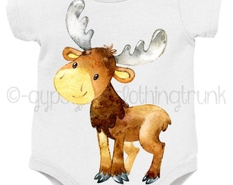 Baby Animal Outfit - Woodland Baby Outfit - Moose Baby Top - Baby Forest Animal Outfit - New Baby Gift - Wildlife Baby Outfit
