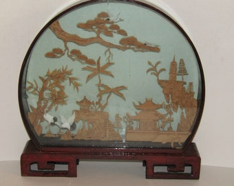 Cork Diorama Chinese Shadow Box With Framed 3D Landscape