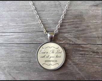 Trust in the Lord Necklace Proverbs 3:5 Proverbs chapter three Bible necklace Christian Gift Jewelry Gift for mom or sister prayer necklace