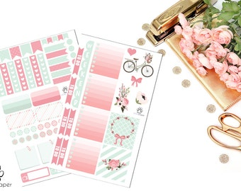 January HORIZONTAL Bicycle Sticker Kit for Erin Condren Planners