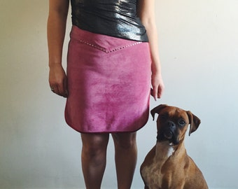 Vintage Miu Miu Silver Studded Pink Leather Western Mini Skirt with Metallic Red Trim