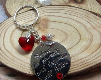 Believe in yourself and Happiness will follow! keyring, quote keyring, motivational quote, quote key holder, inspirational quote keyring