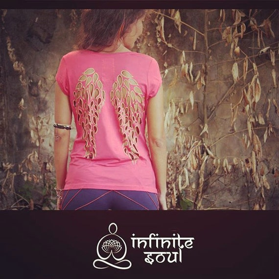 Yoga Top Coral Spirit Shirt Angel Wings Yoga Clothes