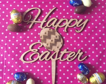 Happy Easter Timber Cake Topper