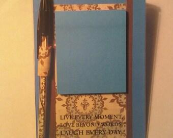 4x6 desktop Post it Note holder with pen