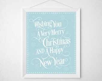 Christmas poster typographic pastel tones: 'Wishing You a Very Merry Christmas and a Happy New Year' black and white print.