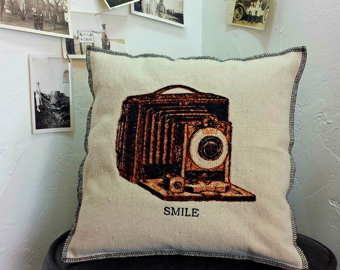 Embroidered  Retro Style Vintage Graphic Camera Upcycled Canvas Pillow