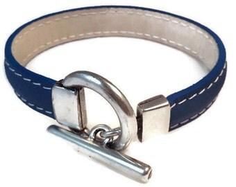 Bracelet leather blue, White leather lining, white