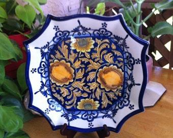 I. Godinger & Co. Porcelain Serving Platter - Blue and Yellow Mediterranean Style