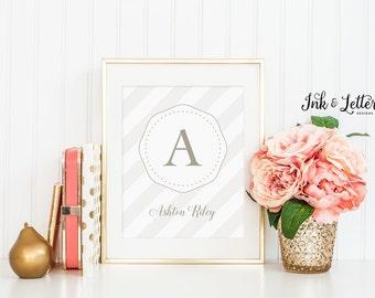 Gender Neutral Nursery Decor - Personalized Name Print - Monogram Print - Gold Nursery Decor - Custom Printable - Digital Printable - 8x10