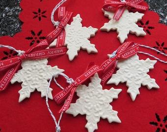 Handmade Snowflake Ornament, Large porcelain ornament, Ceramic Christmas Decoration x1, Xmas tree decoration, Artisan Ceramic Decor UK