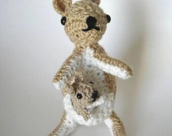 Kalli and Kate Kangaroo/Crochet Kangaroos/Mommy Kangaroo/Baby Kangaroo/Crochet Stuffed Toy/Stuffed Animal/Amigurumi Kangaroo/Kangaroo Plushy