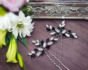 black white wedding, black rhinestone hair pins, black crystal hair pins, black hair accessories, evening hair pins, black bridesmaid piece