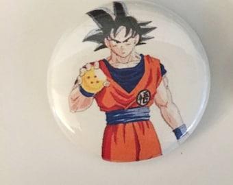 """1"""" Goku pin back button"""