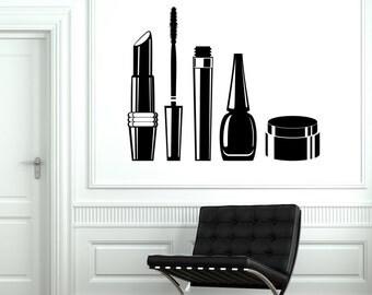 Wall Vinyl Decal Hair Salon Beauty Cosmetics Mascara Lipstick Face Cream Decal (#1008d)