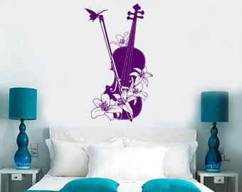 Wall Vinyl Decal Music Violin Butterfly Flowers Classic Music Kid's School Abstract Modern Home Decor (#1197dz)