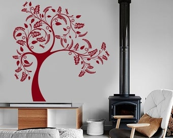 Wall Vinyl Decal Nature Patterns Ornamental Tree and Butterflies Sketch Eco Abstract Modern Home Decor (#1200dz)