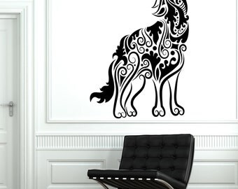 Wall Decal Wolf Predator Animal Ornament Tribal Mural Vinyl Decal 1712dz