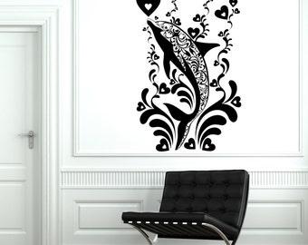 Wall Decal Dolphin Ocean Marine Ornament Tribal Mural Vinyl Decal Sticker 1880dz