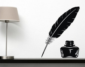 Wall Vinyl Decal Feather Quill Ink Pen Middle Ages Writer's Literature Home Office Modern Art Decor (#2107dn)