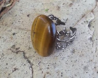 Tiger Eye adjustable ring
