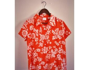 Emma James orange Hawaiian women's button-up