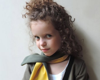 Gift For Kids, Kids Toddlers Yellow Green Scarf - Girls Boys Scarf - Children Scarf - Fleece Neck Warmer - Xmas gift- By PetitWild