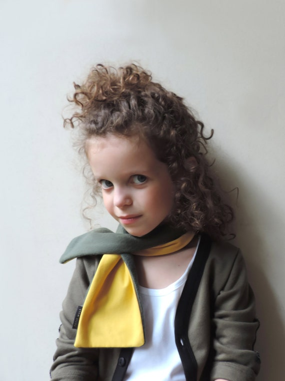 Kids Toddlers Yellow Green Scarf - Girls Boys Scarf - Children Scarf - Fleece Neck Warmer - Reversible And Adjustable Scarf - By PetitWild