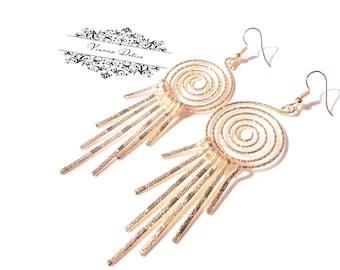 Last Pair * Gold Earrings - Gold Spiral Earrings- Gold Hoop Earrings - Boho - Love - Gold Champagne - Long Earrings - Dangle Unique Earrings
