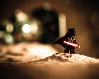 Lego Darth Vader Print - Lego Star Wars Print, Darth Vader Lightsaber - Lego Star Wars Photography Print