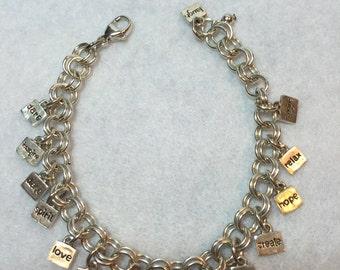 Inspirational Sterling Silver Charm bracelet