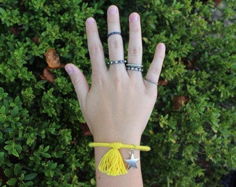 Yellow Tassel Bracelet with Charm