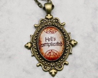 Crowley King of Hell Supernatural Fandom Fangirl SPN  handmade fashion jewelry Necklace Pendant Collier Hell's complicated crossroads trap