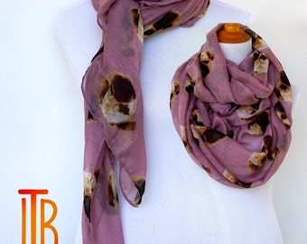 Pink Scarf, Dog Print Woman Scarves, Fashion Loop Scarf, Women Fashion Accessories, Mothers Day Gift, Spring Summer Scarf, Soft Viscose