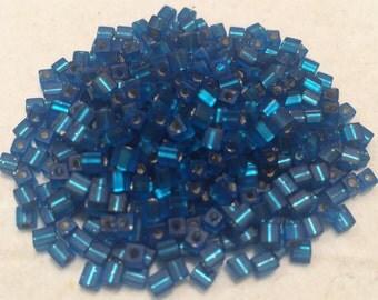 Miyuki Cube Beads, 3mm, Matte Silver Lined Capri Blue, SB3-25F, 20 Grams, Japanese Glass