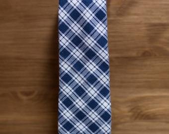 men's necktie - navy & cream cotton plaid