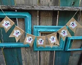 Emoji Ghost Burlap Banner Garland