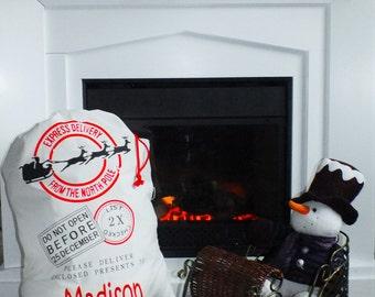 ON SALE - Personalized Santa Sack - Christmas Gifts - Christmas tote - Holiday Sacks - Holiday Bags - Santa Sack