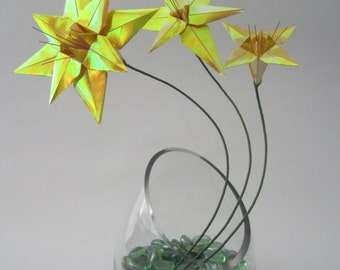 Origami Floral Arrangement - Yellow Lily