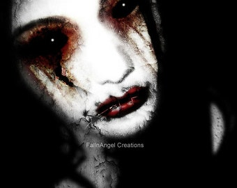 "Gothic Horror Art Print ""Angel of Loss"" Original Art"