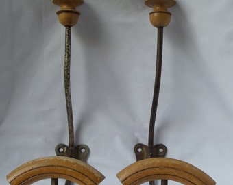 Pair of Hooks / hangers in wood and metal of the 1930s