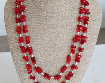 """Red Coral and Silver Double Strand Necklace, 22"""" and 24""""                                                       (BHJ00041)"""