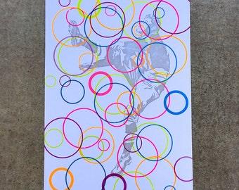 6-color Neon Hoops Football Kicker Print