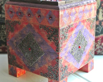Medieval box, Jewellery box, Trinket box, Polymer clay mosaic, Keepsake box, Mosaic box, Hand painted and embellished