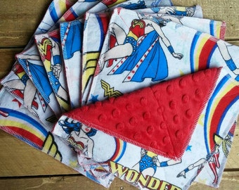Wonder woman washcloths, washcloths, minky washcloths, baby wipes, minky baby wipes, face cloths, face wipes, bath towels