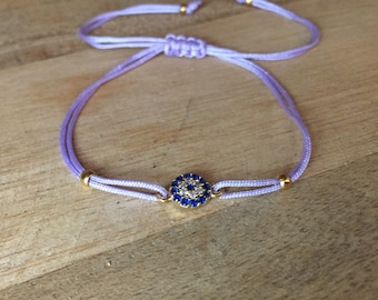 Lavender string Bracelet with evil eye