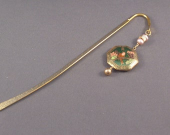 One of a Kind Bookmark with Vintage Components  Cloisonne
