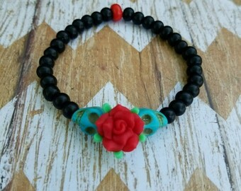 Dia de los Muertos bracelet. Day of the Dead bracelet. Sugar skull bracelet. Beaded bracelet