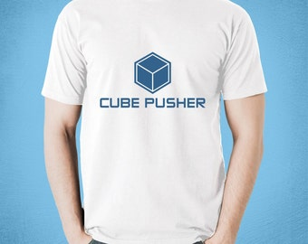 Cube Pusher White T-shirt | for board game geeks, tabletop gamers, and fans or Euros & Euro gaming | show your cube pushing pride