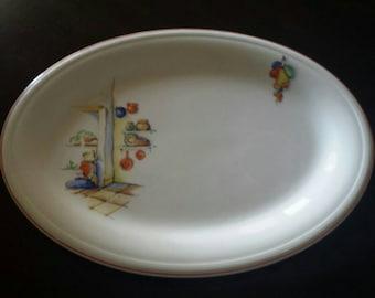 """Edwin Knowles China Oval Platter 1930s """"Tia Juana"""" Pattern"""